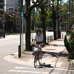 Riding a bicycle through town